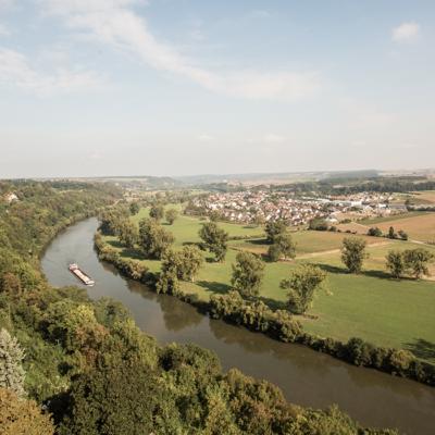 Blick auf den Neckar vom Blauen Turm in Bad Wimpfen